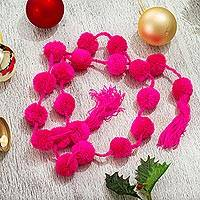 Cotton garland, 'Festive Joy in Rose' - Rose Pink Cotton Pompom Handcrafted Garland from Mexico