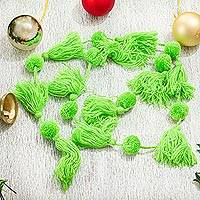 Cotton garland, 'Spread the Joy in Lime Green' - Handcrafted Lime Green Pompom and Tassel Cotton Garland