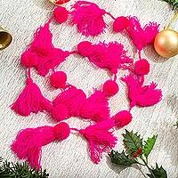 Cotton garland, 'Spread the Joy in Pink' - Handcrafted Bright Pink Pompom and Tassel Cotton Garland