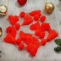 Cotton garland, 'Spread the Joy in Marigold' - Handcrafted Marigold Orange Pompom Tassel Cotton Garland