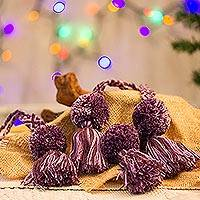 Cotton ornaments, 'Sweet Joy in Purple' (set of 4) - Purple Cotton Pompom and Tassel Ornaments (Set of 4)