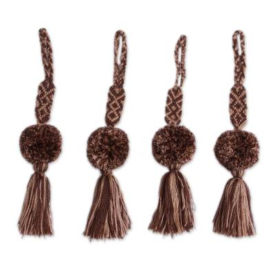 Brown Cotton Pompom and Tassel Ornaments (Set of 4)