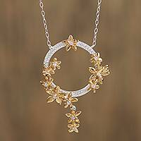 Gold accented sterling silver pendant necklace, 'Ring of Flowers' - Floral 22k Gold Accented Sterling Silver Pendant Necklace