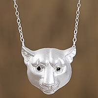 Sterling silver pendant necklace, 'Panther Gaze' - Sterling Silver Panther Pendant Necklace from Mexico