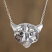 Sterling silver pendant necklace, 'Mythic Panther' - Sterling Silver Panther Pendant Necklace from Mexico