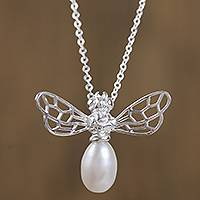 Cultured pearl pendant necklace, 'Gleaming Bee' - Cultured Pearl Bee Pendant Necklace from Mexico
