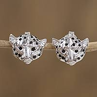 Sterling silver button earrings, 'Mythic Panther' - Sterling Silver Panther Button Earrings from Mexico