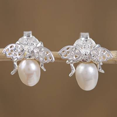 Cultured pearl button earrings, 'Dreamy Bees' - Cultured Pearl Bee Button Earrings from Mexico