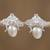 Cultured pearl button earrings, 'Dreamy Bees' - Cultured Pearl Bee Button Earrings from Mexico thumbail
