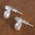 Cultured pearl button earrings, 'Dreamy Bees' - Cultured Pearl Bee Button Earrings from Mexico (image 2b) thumbail