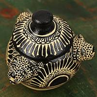 Ceramic jar, 'Jaguar Vessel' - Hand-Painted Jaguar Pattern Ceramic Jar from Mexico