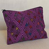 Cotton clutch, 'Diamond Patterns in Amethyst' - Diamond Motif Cotton Clutch in Amethyst from Mexico