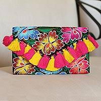Cotton clutch, 'Vivid Flowers' - Multicolored Embroidered Floral Cotton Clutch from Mexico