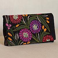 Cotton clutch, 'Magnificent Flowers' - Handwoven Embroidered Floral Cotton Clutch from Mexico