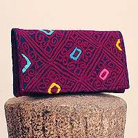 Cotton clutch, 'Beauty of Symmetry' - Handwoven Cotton Clutch in Magenta and Indigo from Mexico