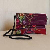 Cotton sling, 'Floral Cross-Stitch' - Cotton Sling with Cross-Stitch Floral Embroidery from Mexico
