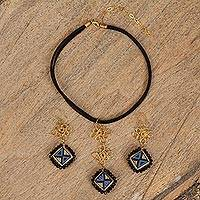 Gold plated ceramic and leather jewelry set, 'Dreams of the Night' - 18k Gold Plated Ceramic and Leather Jewelry Set from Mexico