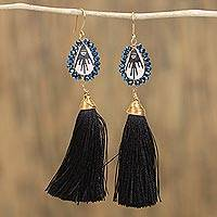 Gold plated ceramic and glass bead dangle earrings, 'Skyward Elegance' - Ceramic and Glass Bead Dangle Earrings from Mexico