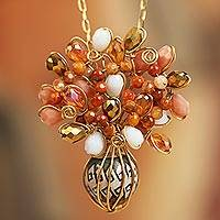 Gold plated glass and ceramic pendant necklace, 'Elegant Cluster' - 18k Gold Plated Glass and Ceramic Pendant Necklace