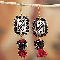 Gold plated ceramic and glass bead dangle earrings, 'Elegant Zigzag' - Gold Plated Ceramic and Glass Bead Dangle Earrings