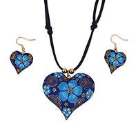 Gold accent wood jewelry set, 'Fantasy Flowers in Azure' - Floral Gold Accent Wood Jewelry Set in Azure from Mexico