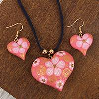 Gold accent wood jewelry set, 'Fantasy Flowers in Blush' - Floral Gold Accent Wood Jewelry Set in Blush from Mexico