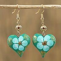 Wood dangle earrings, 'Fantasy Flowers in Aqua' - Hand-Painted Floral Wood Dangle Earrings in Aqua from Mexico