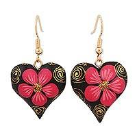 Wood dangle earrings, 'Fantasy Flowers in Carmine' - Hand-Painted Floral Wood Dangle Earrings in Carmine