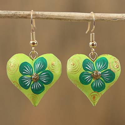 Wood dangle earrings, 'Fantasy Flowers in Viridian' - Hand-Painted Floral Wood Dangle Earrings in Viridian