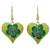 Wood dangle earrings, 'Fantasy Flowers in Viridian' - Hand-Painted Floral Wood Dangle Earrings in Viridian (image 2a) thumbail