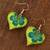 Wood dangle earrings, 'Fantasy Flowers in Viridian' - Hand-Painted Floral Wood Dangle Earrings in Viridian (image 2b) thumbail