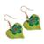 Wood dangle earrings, 'Fantasy Flowers in Viridian' - Hand-Painted Floral Wood Dangle Earrings in Viridian (image 2c) thumbail