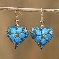 Wood dangle earrings, 'Fantasy Flowers in Cerulean' - Floral Wood Dangle Earrings in Cerulean from Mexico