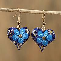 Wood dangle earrings, 'Fantasy Flowers in Azure' - Floral Wood Dangle Earrings in Azure from Mexico