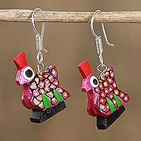 Wood alebrije dangle earrings, 'Glittering Hen in Pink' - Glittering Wood Alebrije Hen Dangle Earrings in Pink