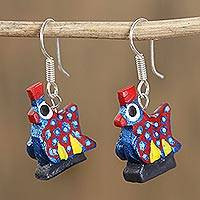 Wood alebrije dangle earrings, 'Glittering Hen in Blue' - Glittering Wood Alebrije Hen Dangle Earrings in Blue