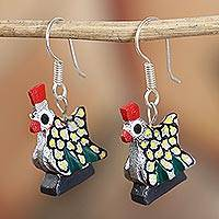 Wood alebrije dangle earrings, 'Glittering Hen in Silver' - Glittering Wood Alebrije Hen Dangle Earrings in Silver