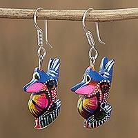 Wood alebrije dangle earrings, 'Vibrant Rabbit in Azure' - Floral Wood Alebrije Rabbit Dangle Earrings in Azure