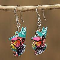 Wood alebrije dangle earrings, 'Vibrant Rabbit in Turquoise' - Floral Wood Alebrije Rabbit Dangle Earrings in Turquoise