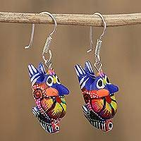 Wood alebrije dangle earrings, 'Vibrant Rabbit in Blue' - Floral Wood Alebrije Rabbit Dangle Earrings in Blue
