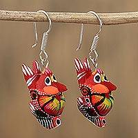 Wood alebrije dangle earrings, 'Vibrant Rabbit in Red' - Floral Wood Alebrije Rabbit Dangle Earrings in Red