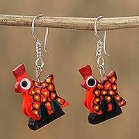 Wood alebrije dangle earrings, 'Charming Hen in Orange' - Wood Alebrije Hen Dangle Earrings in Orange from Mexico