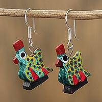 Wood alebrije dangle earrings, 'Glittering Hen in Teal' - Glittering Wood Alebrije Hen Dangle Earrings in Teal