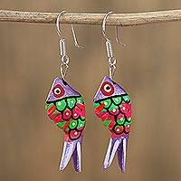 Wood alebrije dangle earrings, 'Sea Glitter in Purple' - Alebrije Wood Fish Dangle Earrings in Purple from Mexico