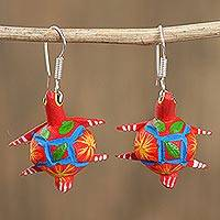 Wood alebrije dangle earrings, 'Vibrant Turtle in Red' - Floral Wood Alebrije Turtle Dangle Earrings in Red