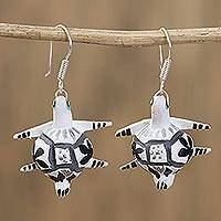 Wood alebrije dangle earrings, 'Vibrant Turtle in White' - Floral Wood Alebrije Turtle Dangle Earrings in White