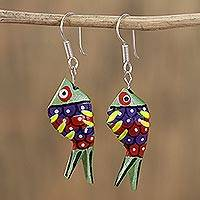 Wood alebrije dangle earrings, 'Sea Glitter in Green' - Glittering Wood Alebrije Fish Dangle Earrings in Green