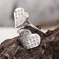 Sterling silver wrap ring, 'Love's Desire' - Sterling Silver Hearts with Embedded Crystals Wrap Ring