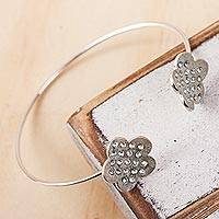 Sterling silver cuff bracelet, 'Sweet Blooms' - Sterling Silver Flowers with Embedded Crystals Cuff Bracelet
