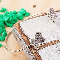 Sterling silver wrap ring, 'Fluttering Wings' - Sterling Silver Butterflies Embedded Crystals Cuff Bracelet